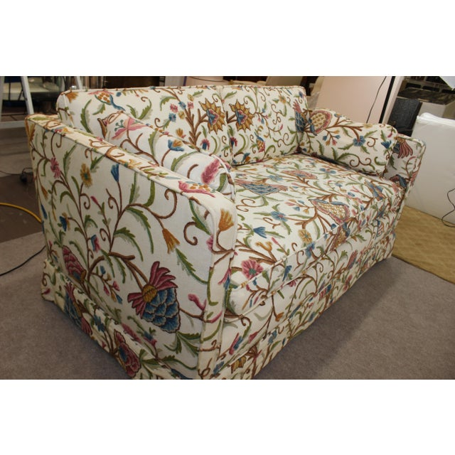 Mid-Century Modern Floral Sofa Settee - Image 10 of 10