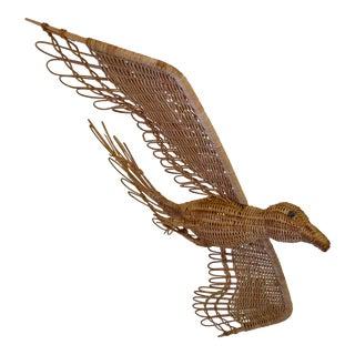 Vintage Wicker Hanging Bird Sculpture