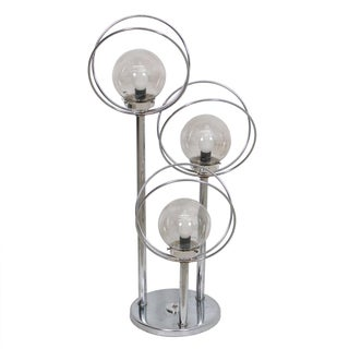 Space Age Chrome Orbs & Rings Table Lamp With 3 Tiers