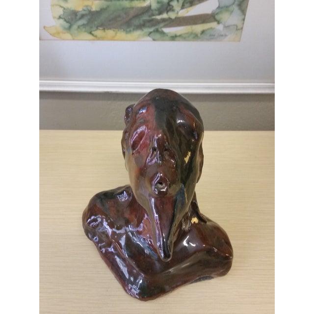Image of Modernist Ceramic Male Bust Sculpture