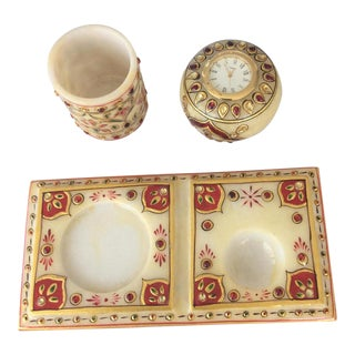 Indian Marble Desk Set - Set of 3