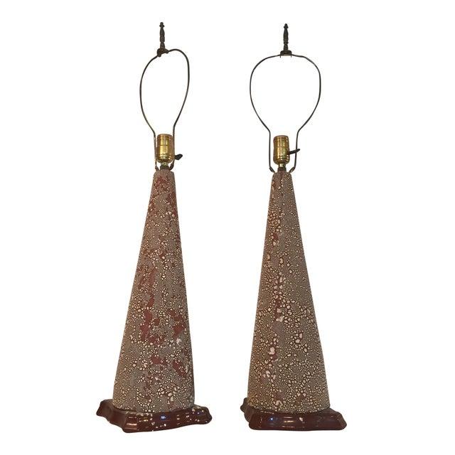 Image of Mid-Century Ceramic Cone Lamps - A Pair