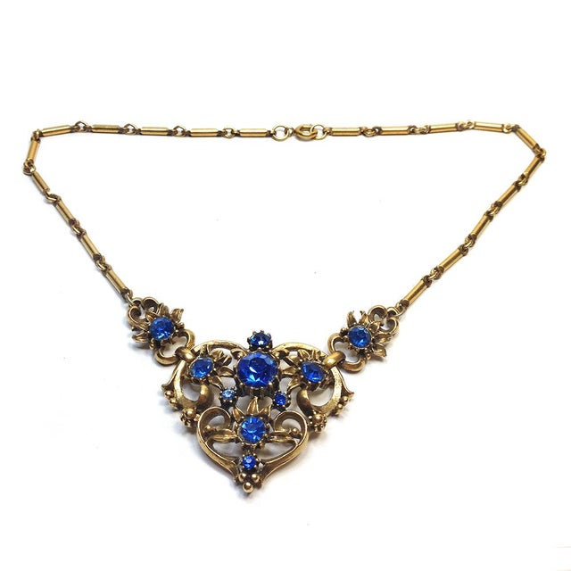 Image of Coro Blue Rhinestone Brass Necklace
