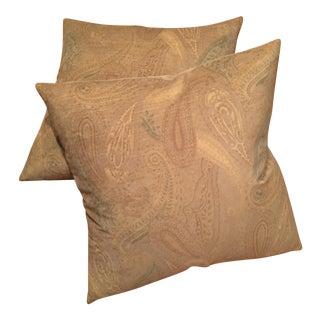 Green Silk Velvet Paisley Pillows - A Pair