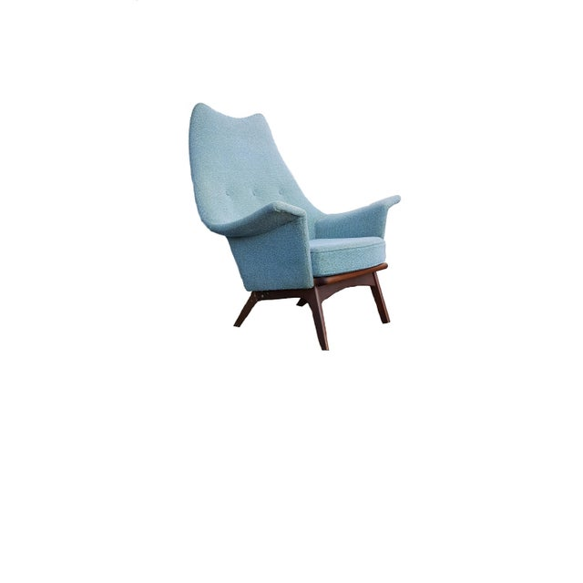 Adrian Pearsall Turquoise Walnut Wingback Chair - Image 7 of 7
