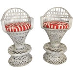 Image of Russell Woodard Spun Fiberglass Barstools with Cushions- A Pair