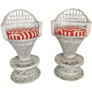 Russell Woodard Spun Fiberglass Barstools with Cushions- A Pair