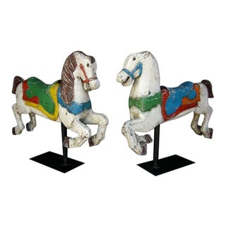 Pair of Antique 19th Century Painted Carnival Carousel Horses