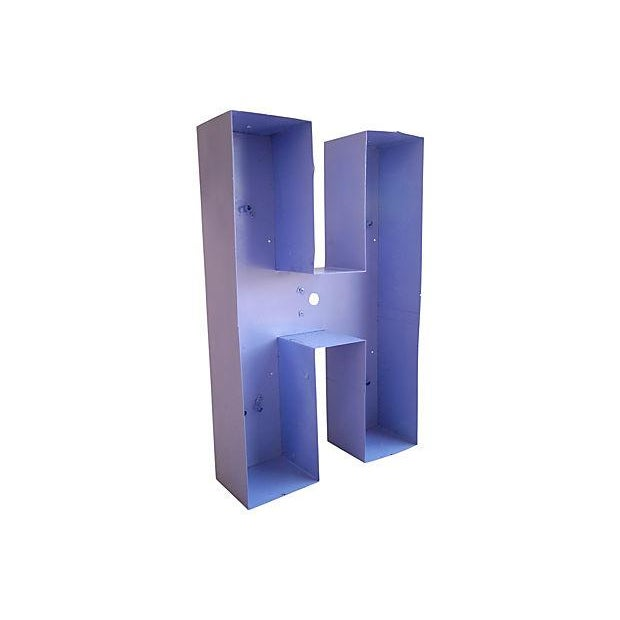 Image of Large Industrial 1950s Metal Marquee Letter H