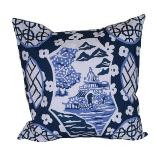 Dana Gibson Blue & White Canton Pillow