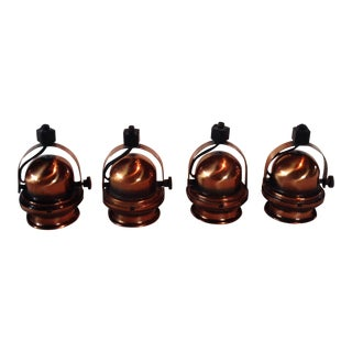 Vintage Copper Track Light Fixtures - Set of 4