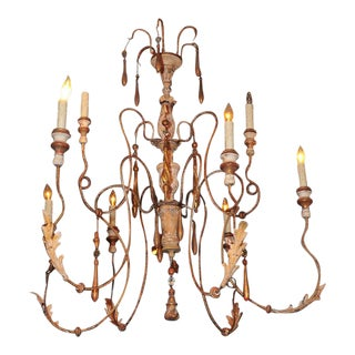 18th century Italian Spider Chandelier w/carved parts - 8 candles