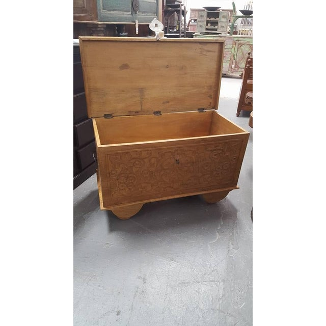 Carved Wooden Chest With Wheels - Image 4 of 7