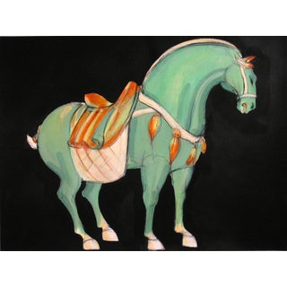 Tang Horse Green Painting by Heidi Lanino