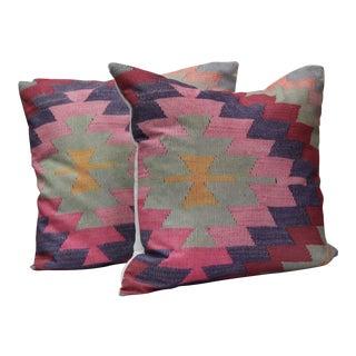 Diamond Pattern Kilim Inspired Print Pillows - a Pair-16''