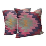 Image of Diamond Pattern Kilim Inspired Print Pillows - a Pair-16''