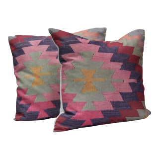 Diamond Pattern Kilim Inspired Print Pillows - a Pair-16''