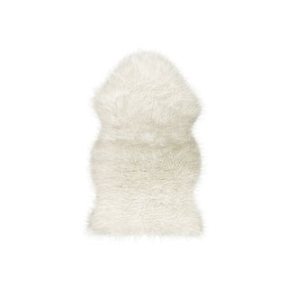 Off White Gordon Faux Sheepskin Throw - 2' X 3'