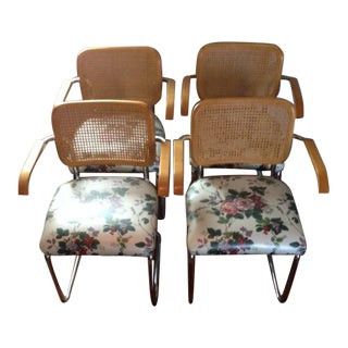 Cane & Chrome Arm Chairs - Set of 4