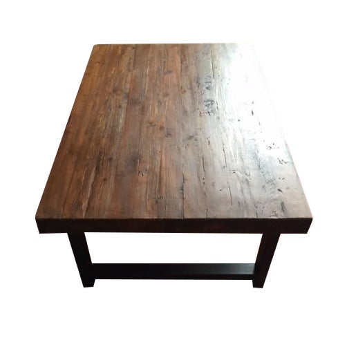 Pottery barn griffin reclaimed wood coffee table chairish for Griffin coffee table