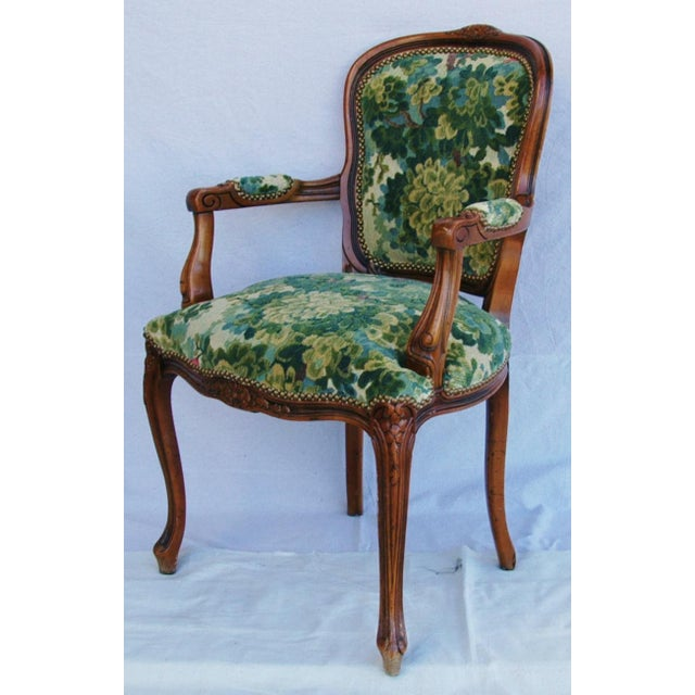 Scalamandre Marly Velvet Tapestry Fabric Walnut Armchair - Image 8 of 11