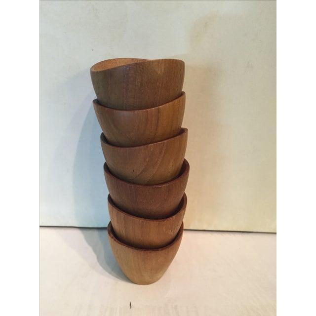Ernst Henriksen Tiny Danish Teak Bowls - Set of 6 - Image 9 of 11