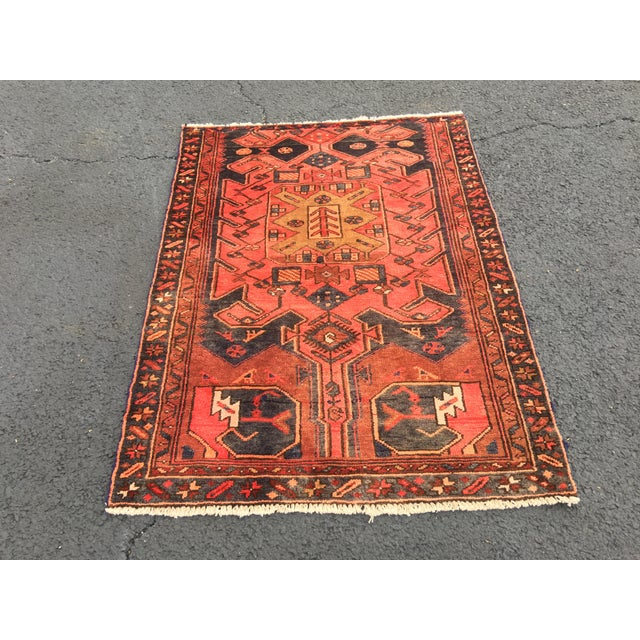 "Vintage Persian Zanjan Area Rug - 3'4""x4'6"" - Image 7 of 8"