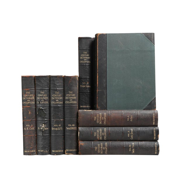 Image of Distressed Black Leather Dictionaries - Set of 9