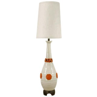 "56"" Nardini Studio White & Red Reticulated Pottery Table Lamp"