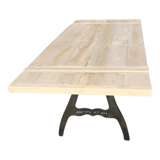 Salvaged Heart Pine Industrial Kitchen Table