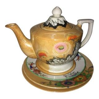 Porcelain Japanese Teapot & Plates Set