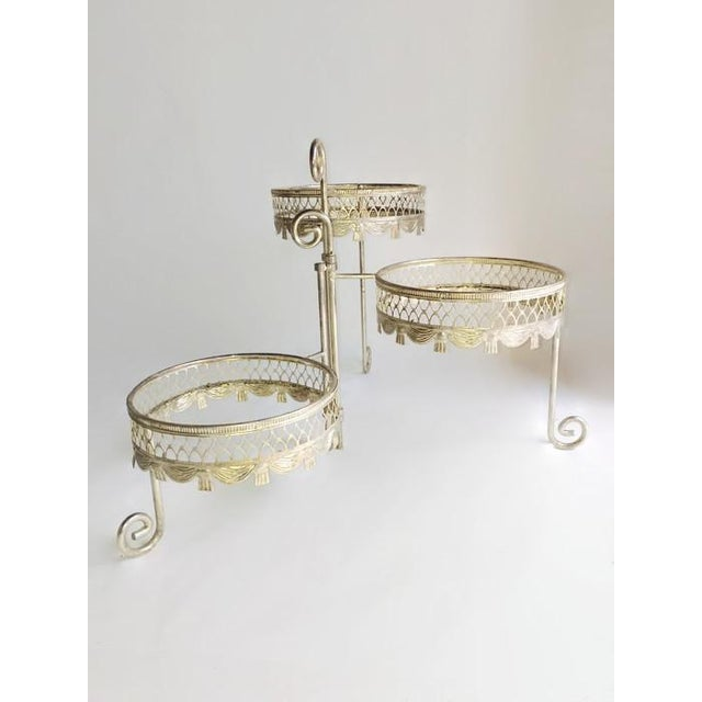 Image of Vintage Silver Three-Tier Plant Stand
