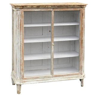 Mid-19th Century French Painted Cabinet with Chicken Wire Doors