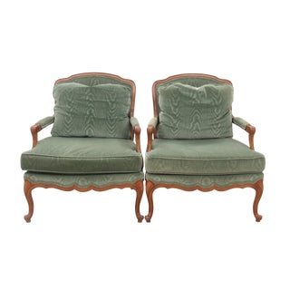 Louis XV Style Green Bergeres, Pair