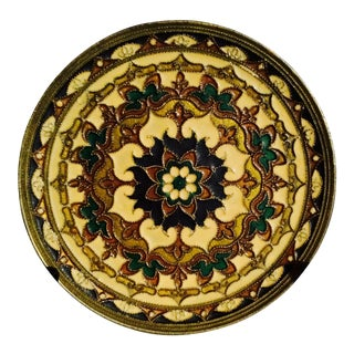 Hand Painted Enameled Plate with Flower