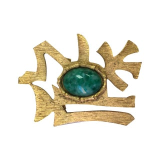 Vintage Jade Chinoiserie Brooch
