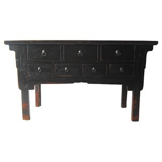 7-Drawer Elm Wood Console