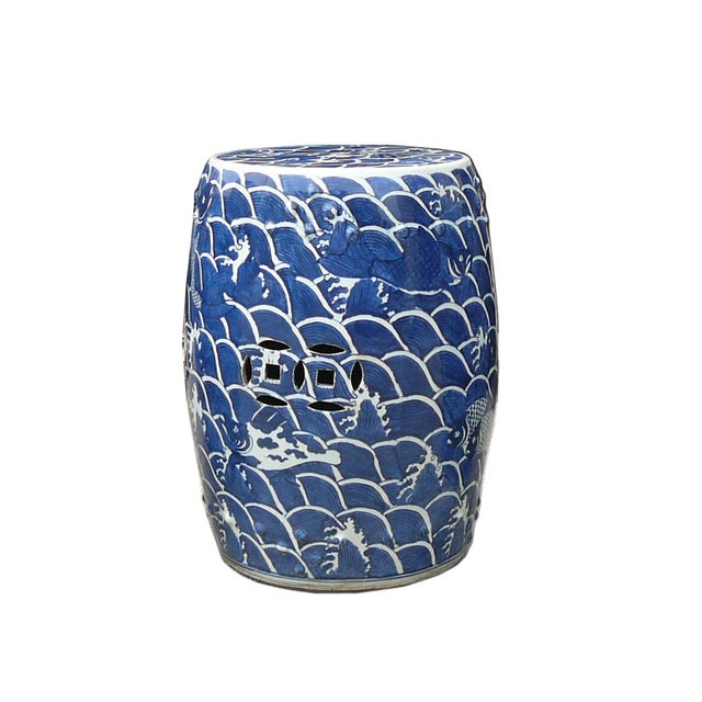 Image of Blue And White Porcelain Round Fishes Stool Table