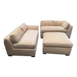 Custom Mohair Sectional Sofa & Ottoman