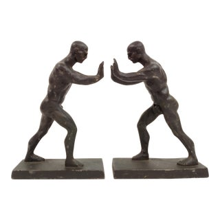 Strong Men Metal Bookends - Pair