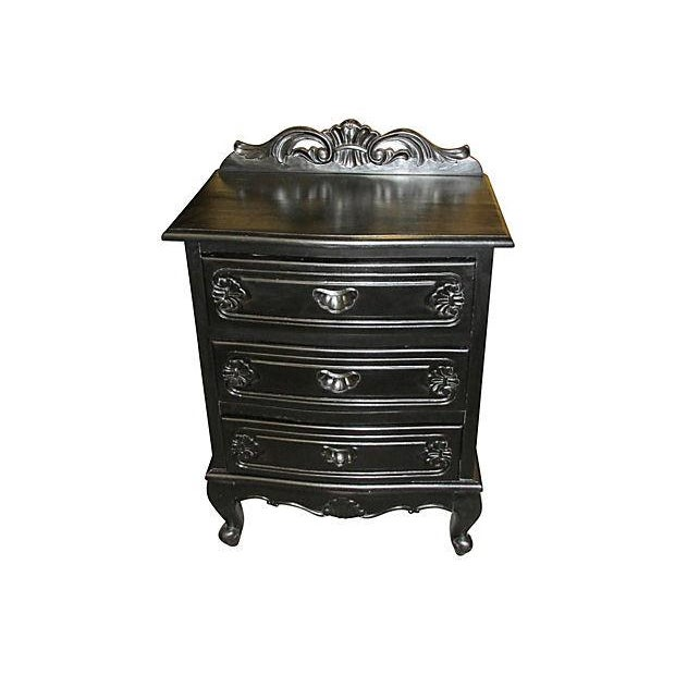 3-Drawer Ebony Nightstands - a Pair - Image 2 of 4