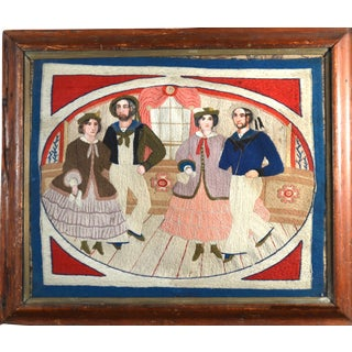 Rare Folk Art Sailor's Woolwork of Sailors & Companions Dancing