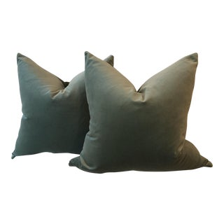 "22"" Sage Green Velvet Pillows - A Pair"