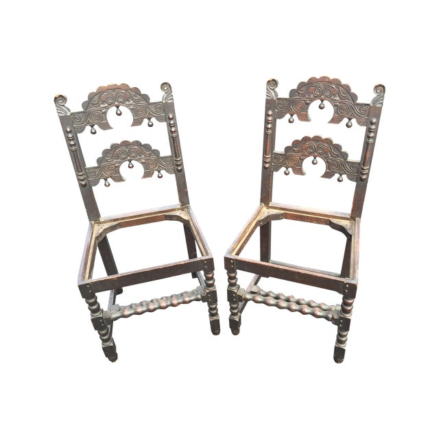 Image of 17th C. South Yorkshire Oak Back Stools - A Pair
