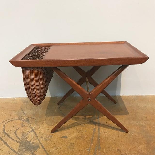 Teak X-Base Side Table W/ Magazine Basket - Image 2 of 5