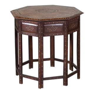 Antique Inlaid Walnut Hoshiapur Indian Folding Table circa 1890