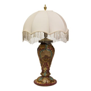 Majolica Silk Umbrella Shade Table Lamp