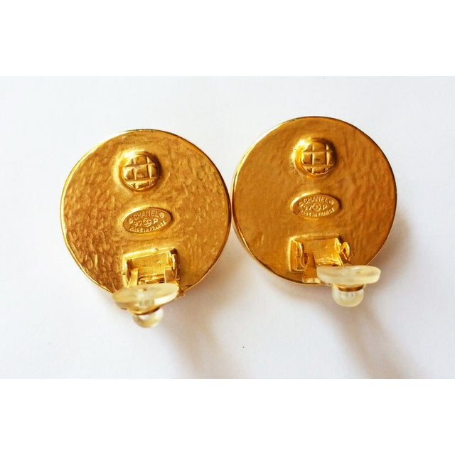 Image of Authentic Chanel CC Pearl Clip on Earrings