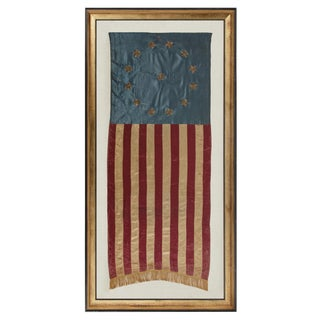 """PATRIOTIC VERTICAL BANNER WITH 13 METALLIC BULLION STARS IN THE """"3RD MARYLAND"""" PATTERN"""