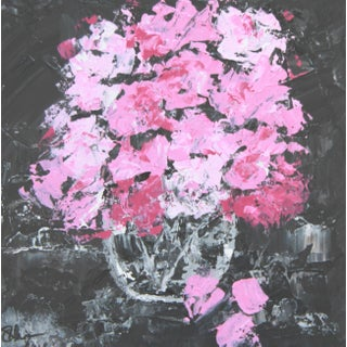 Abstract Floral Pink Roses Bouquet Painting